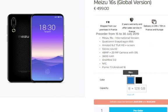 Meizu 16s with official import in France