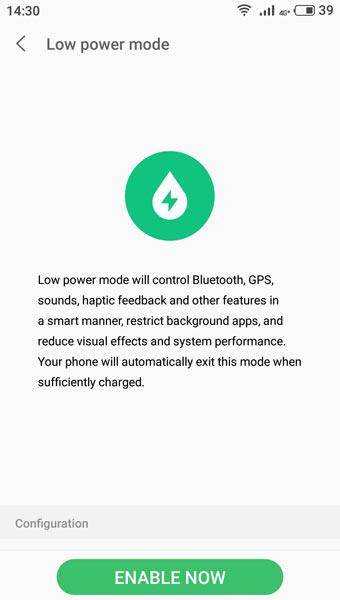 Flyme Low power mode