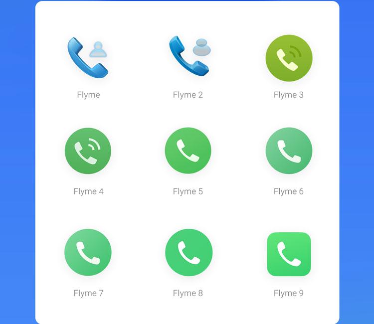 Meizu Flyme 1-9 phone icons